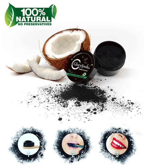 Σκόνη λεύκανσης δοντιών με ενεργό άνθρακα καρύδας